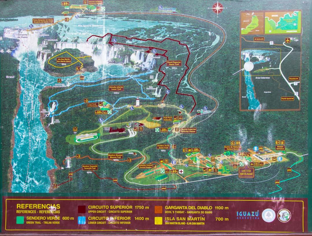 Iguasson vesiputousten kartta Argentiinan puolelta