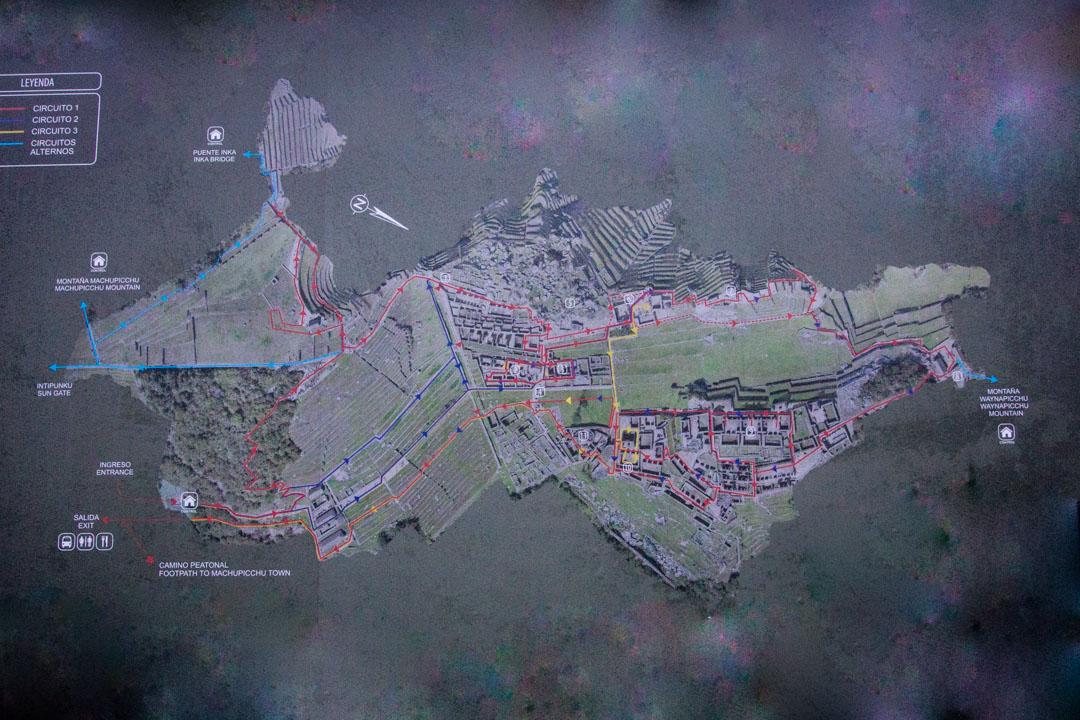kartta Machu Picchusta