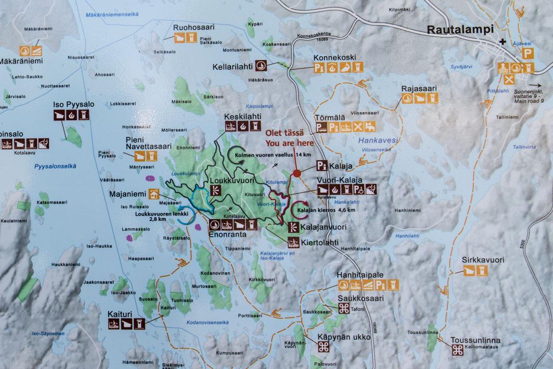 Etelä-Konneveden kansallispuiston kartta
