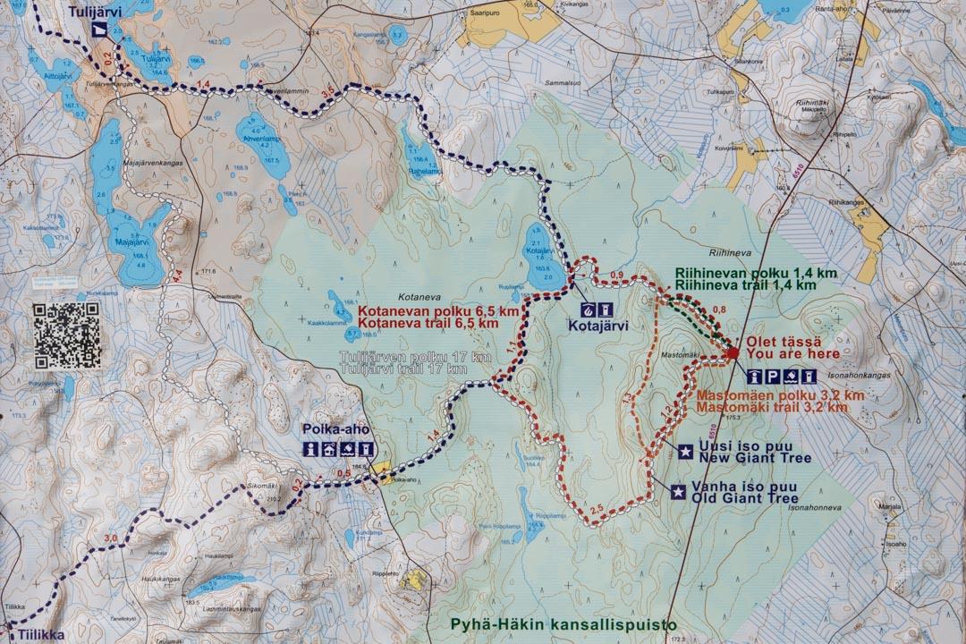 Pyhä-Häkin kansallispuiston kartta
