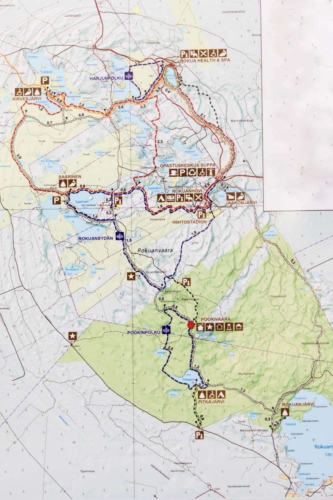 Rokuan kansallispuiston kartta