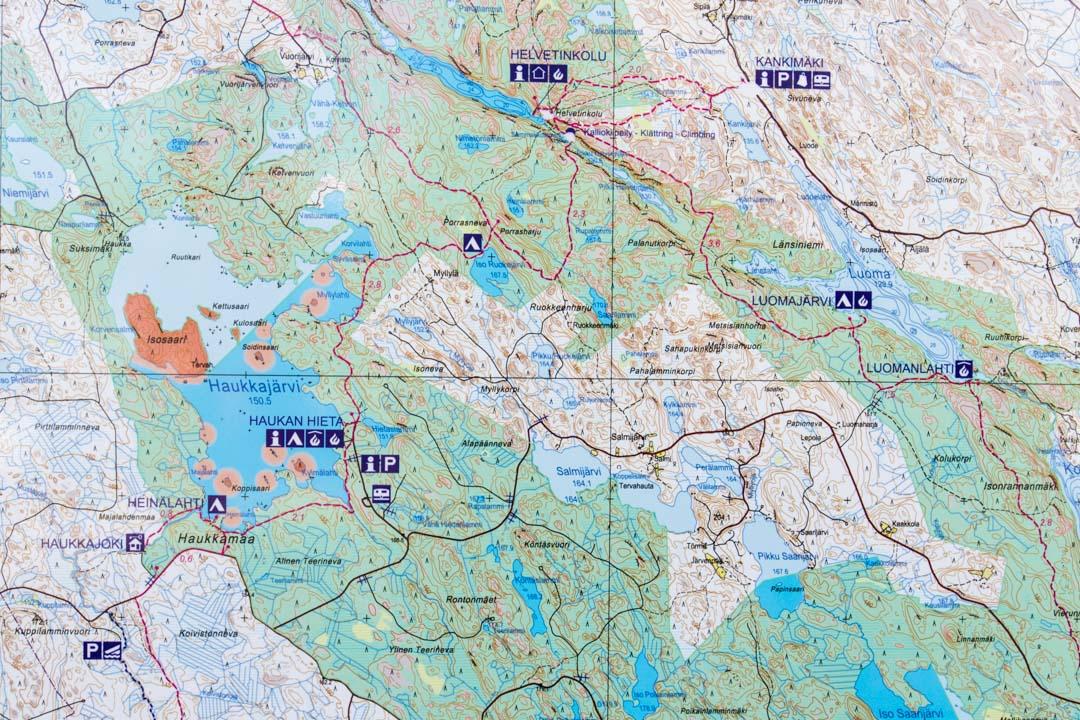 Helvetinjärven kansallispuiston kartta