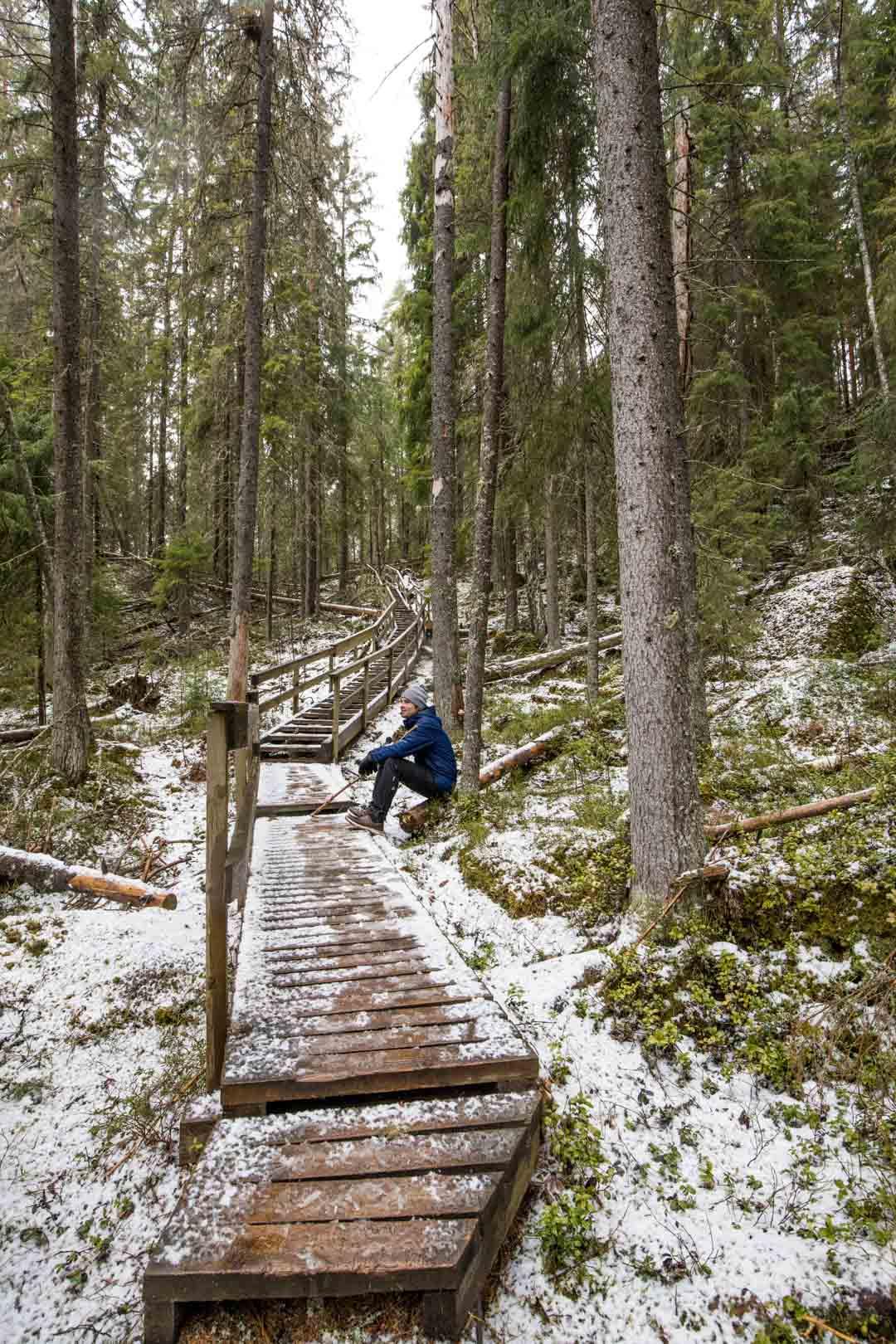 Helvetin kansallispuisto Helvetistä itään -reitti talvella