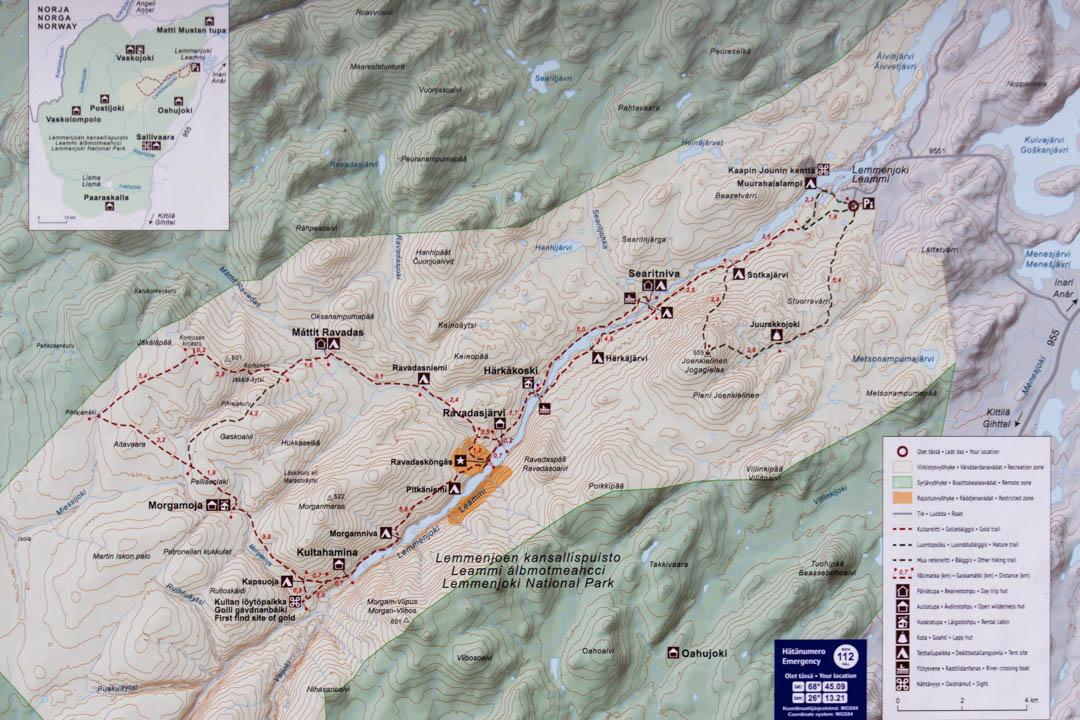 Lemmenjoen kansallispuiston kartta