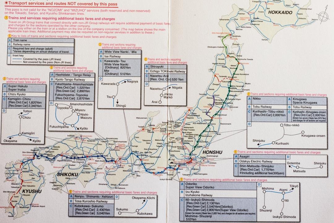 Japan Rail Pass rataverkosto