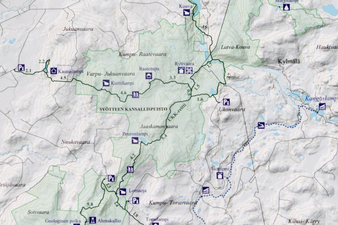 Syötteen kansallispuiston ja Rytivaaran kierroksenkartta