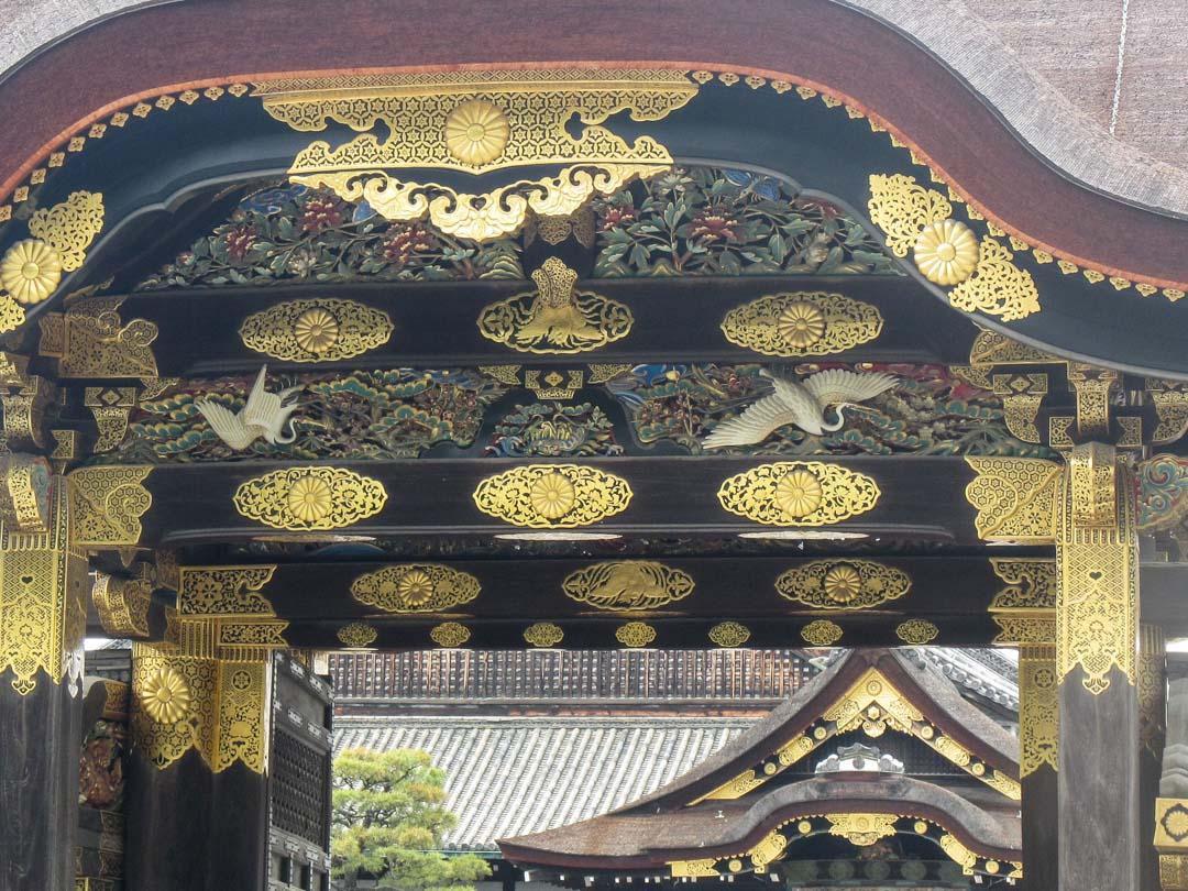 Nijon linnan yksityiskohtia Kiotossa Japanissa