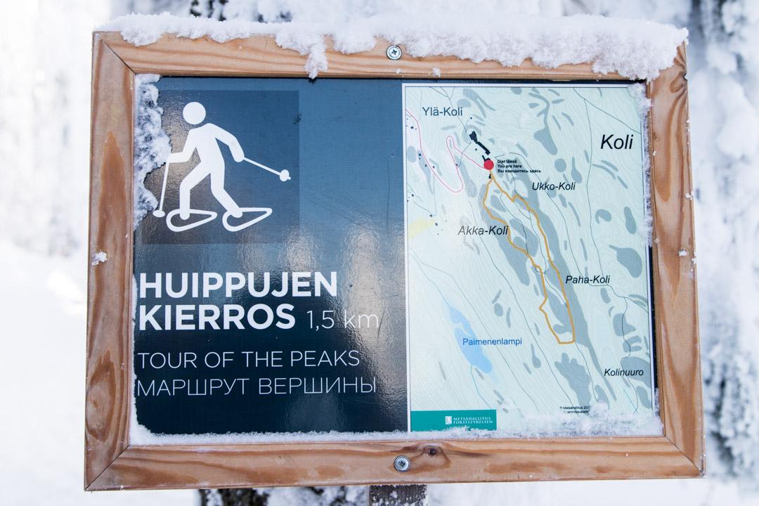 Huippujen kierroksen kartta Kolin kansallispuisto