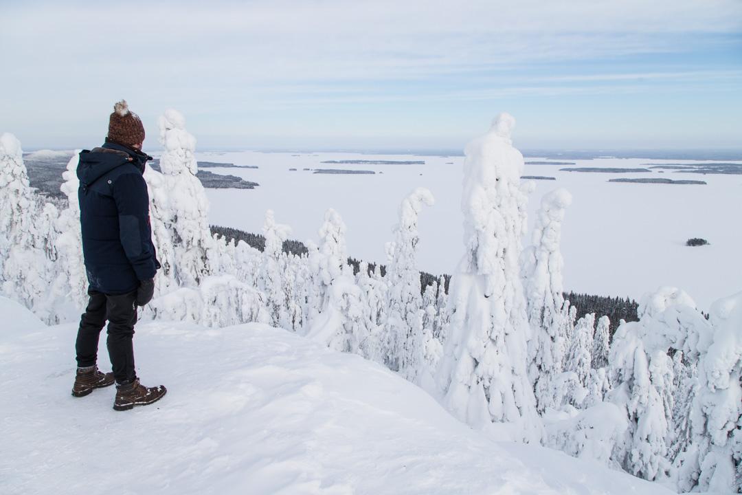 Ukko-Kolin näköalapaikalla Kolin kansallispuistossa talvella