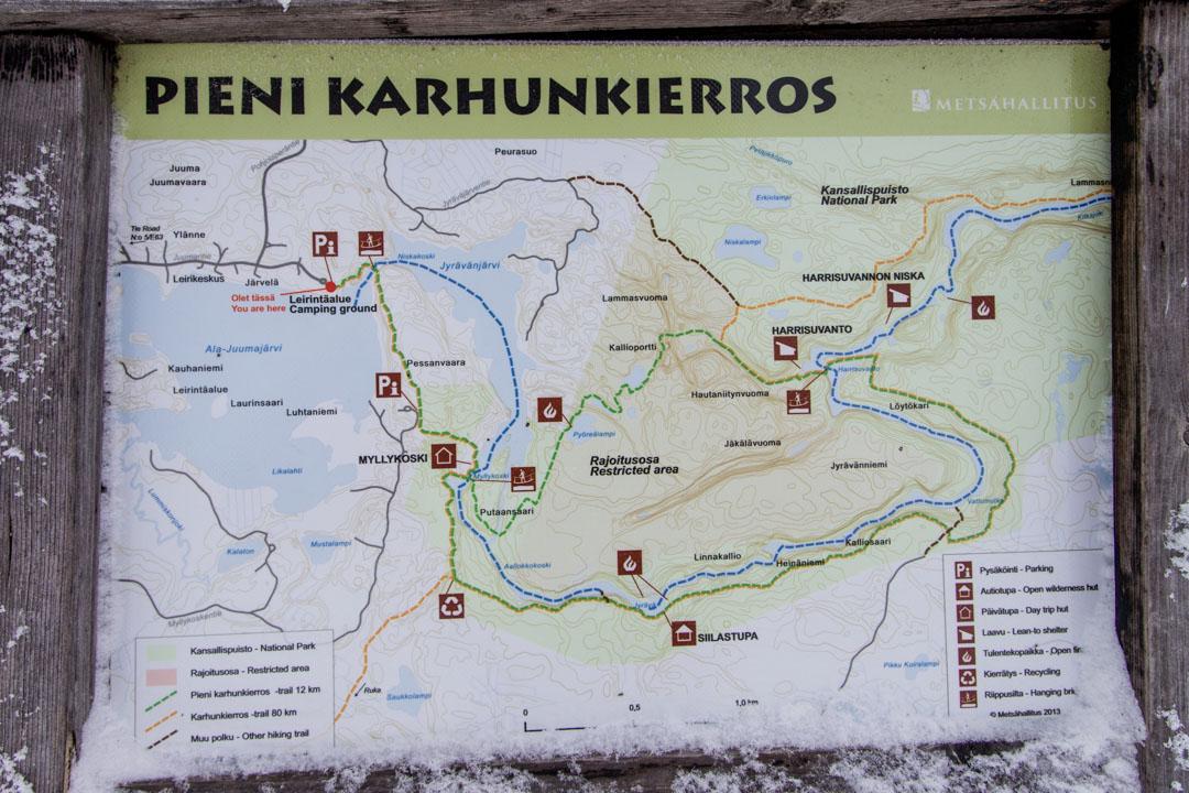 Pienen karhunkierroksen kartta, Oulangan kansallispuisto