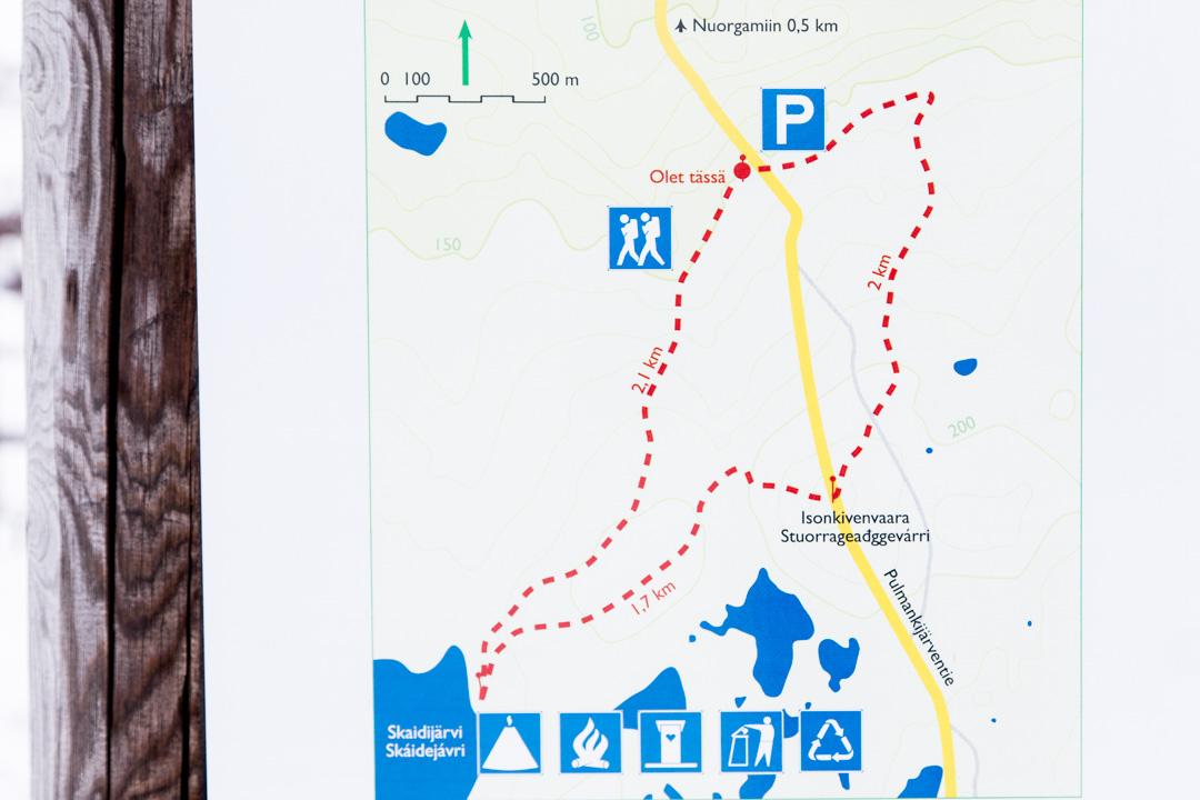 Kaldoaivin erämaa Skaidijärven polku kartta