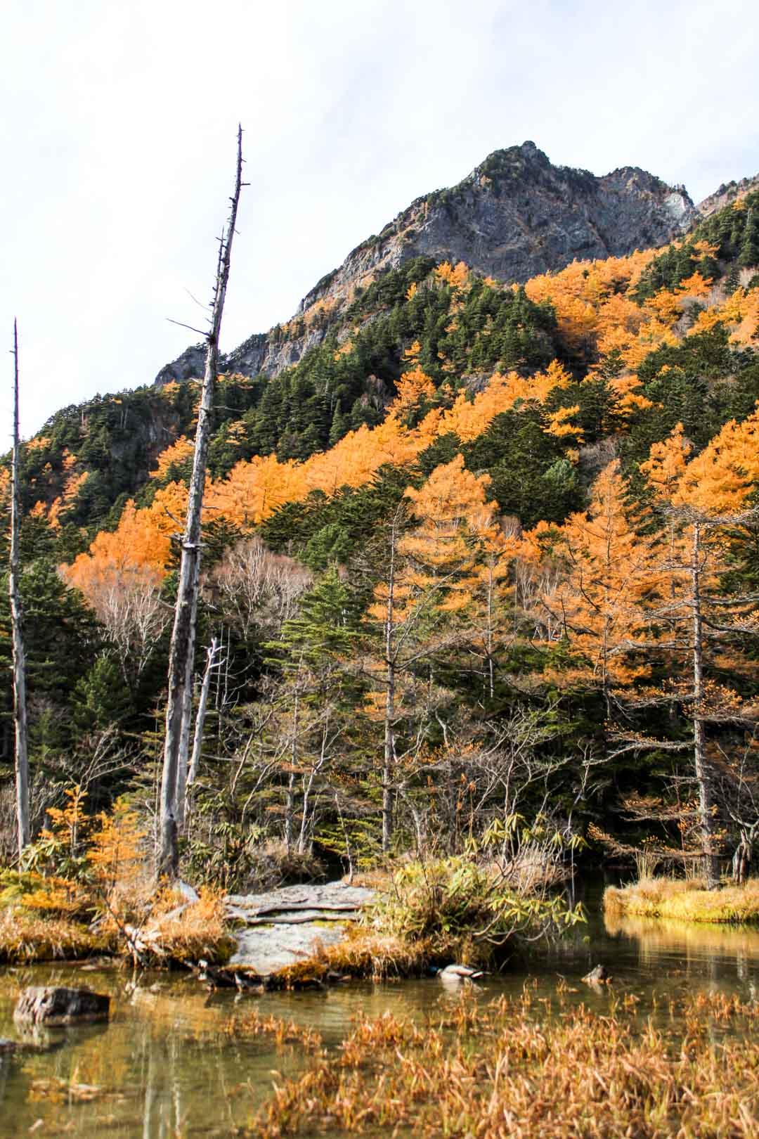 patikoimassa Kamikochissa Japanin Alpeilla