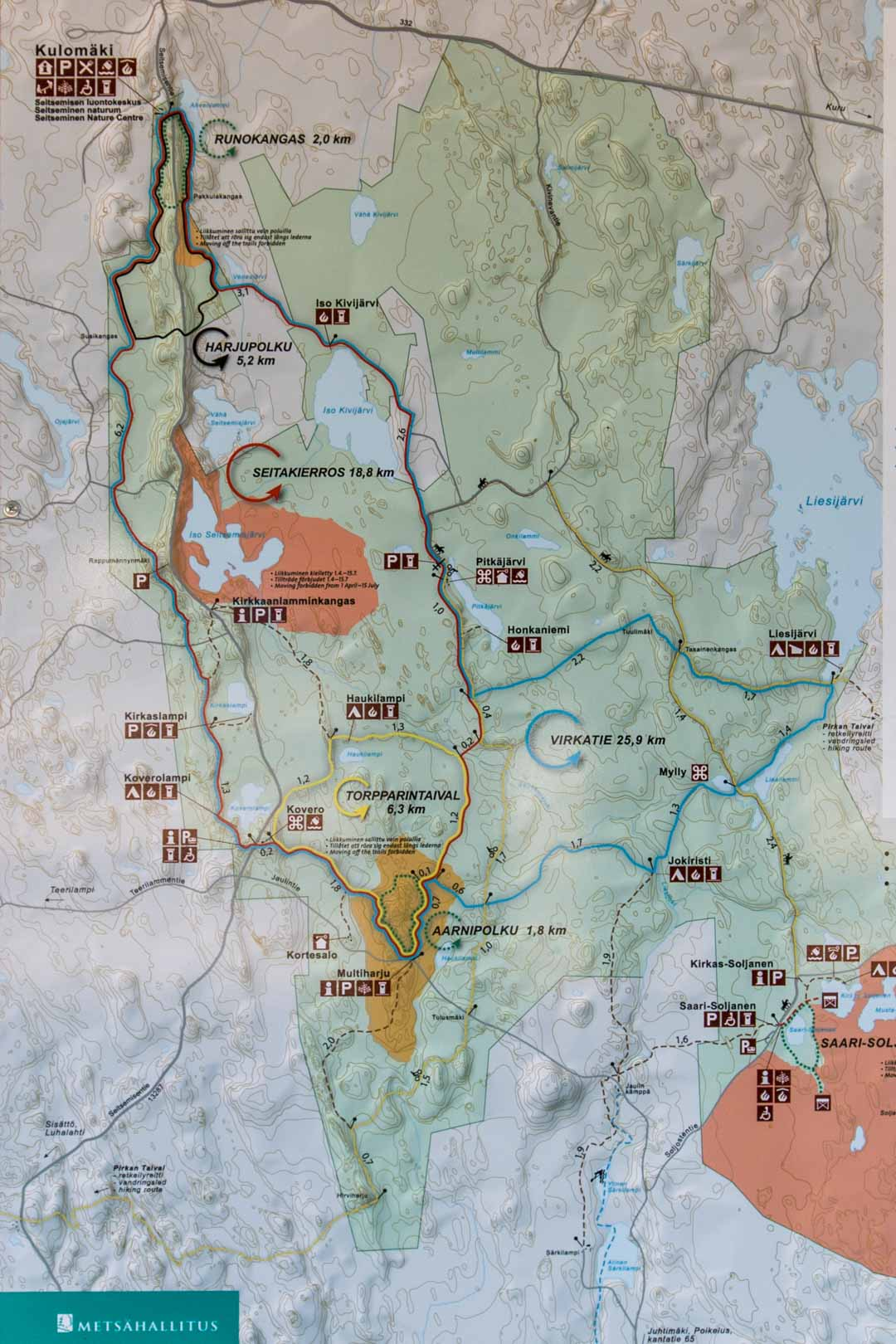Seitsemisen kansallispuiston kartta