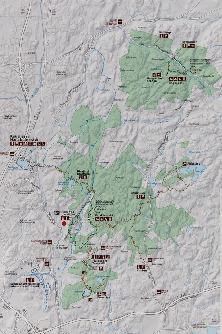 Sipoonkorven kansallispuiston kartta