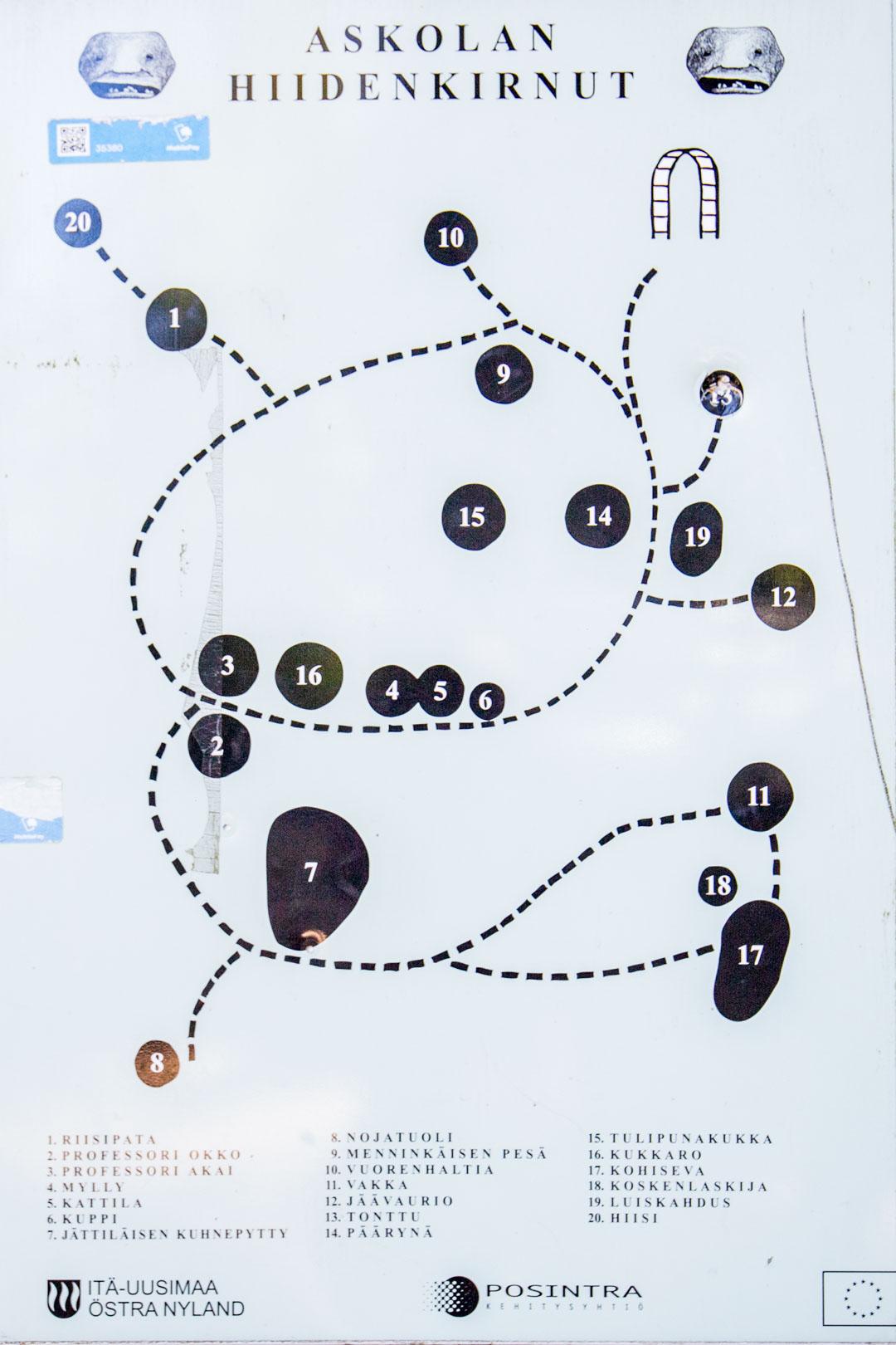 Askolan hiidenkirnut kartta