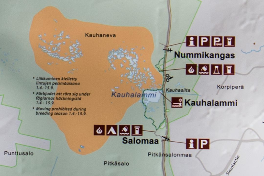 Kauhaneva-Pohjankankaan kansallispuisto Kauhalammin kierroksen kartta