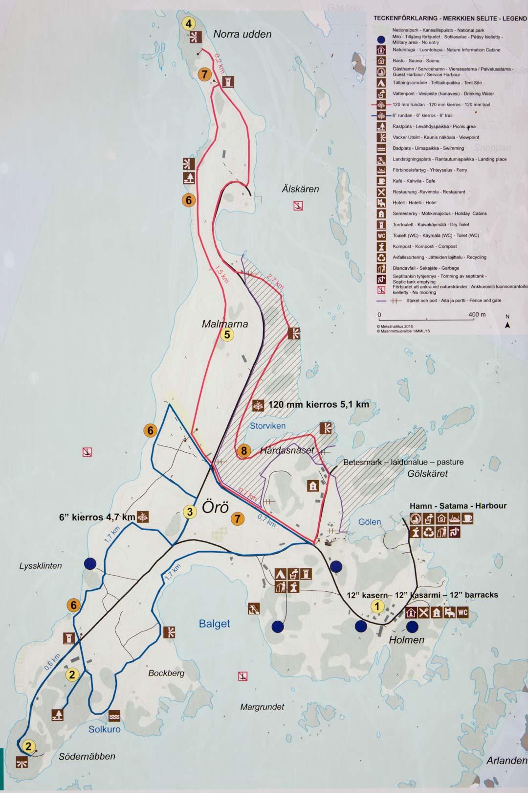 Saaristomeren kansallispuisto Örön saaren reitit