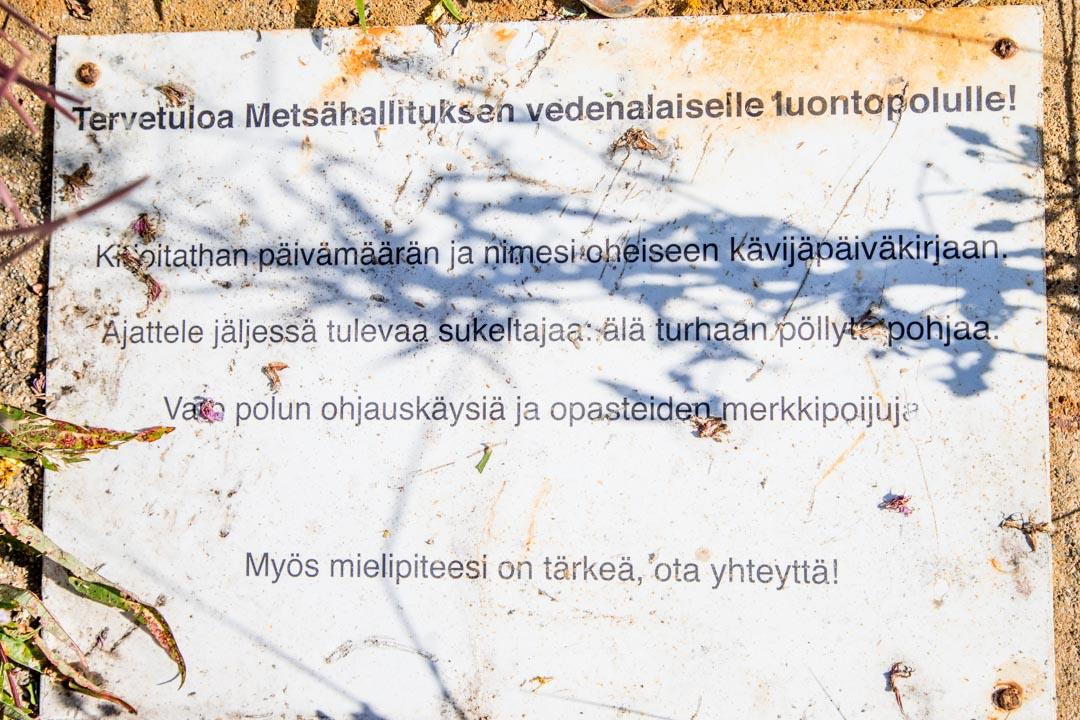 Perämeren kansallispuiston Selkä-Sarven sukelluspolun kyltti