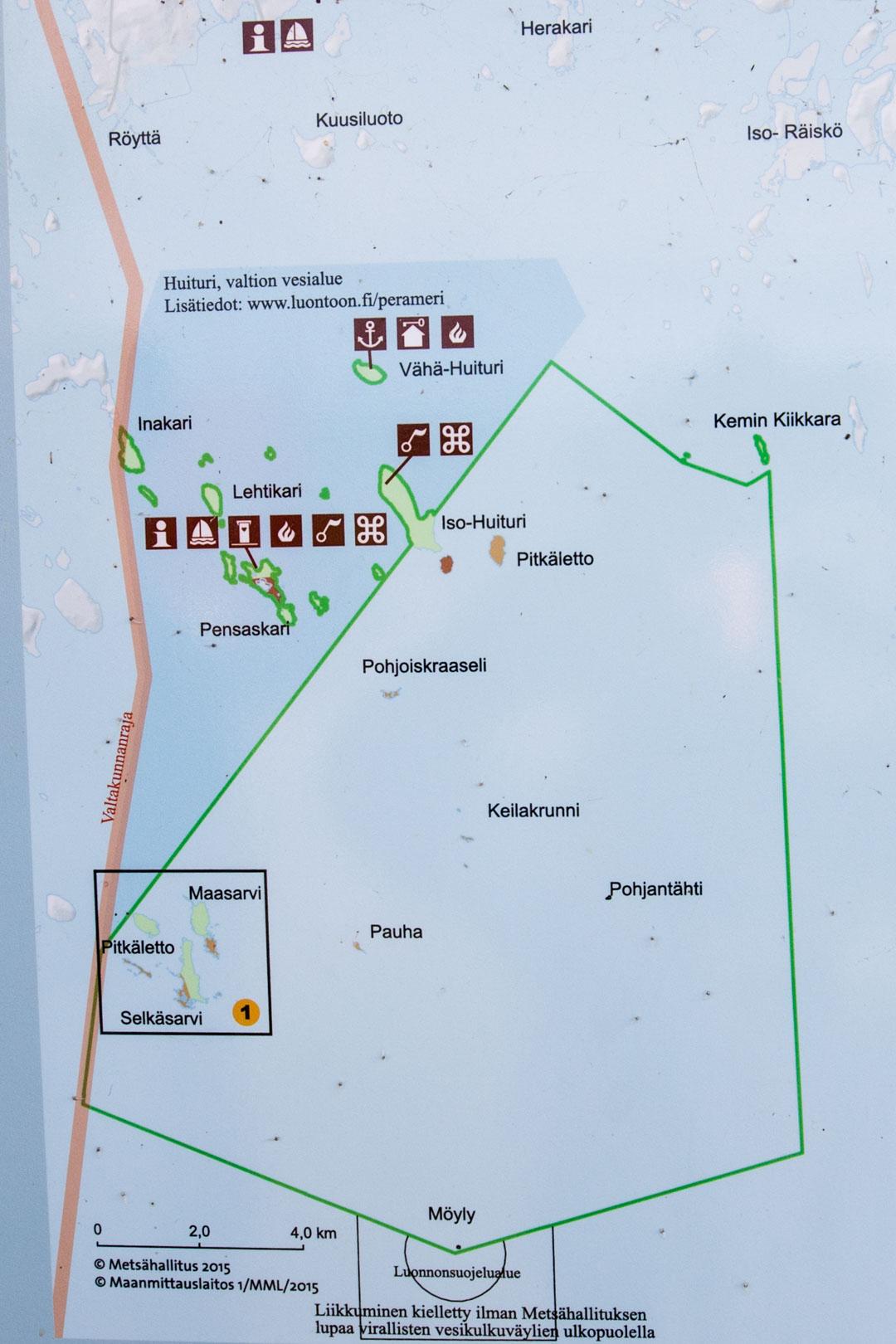 Perämeren kansallispuiston kartta