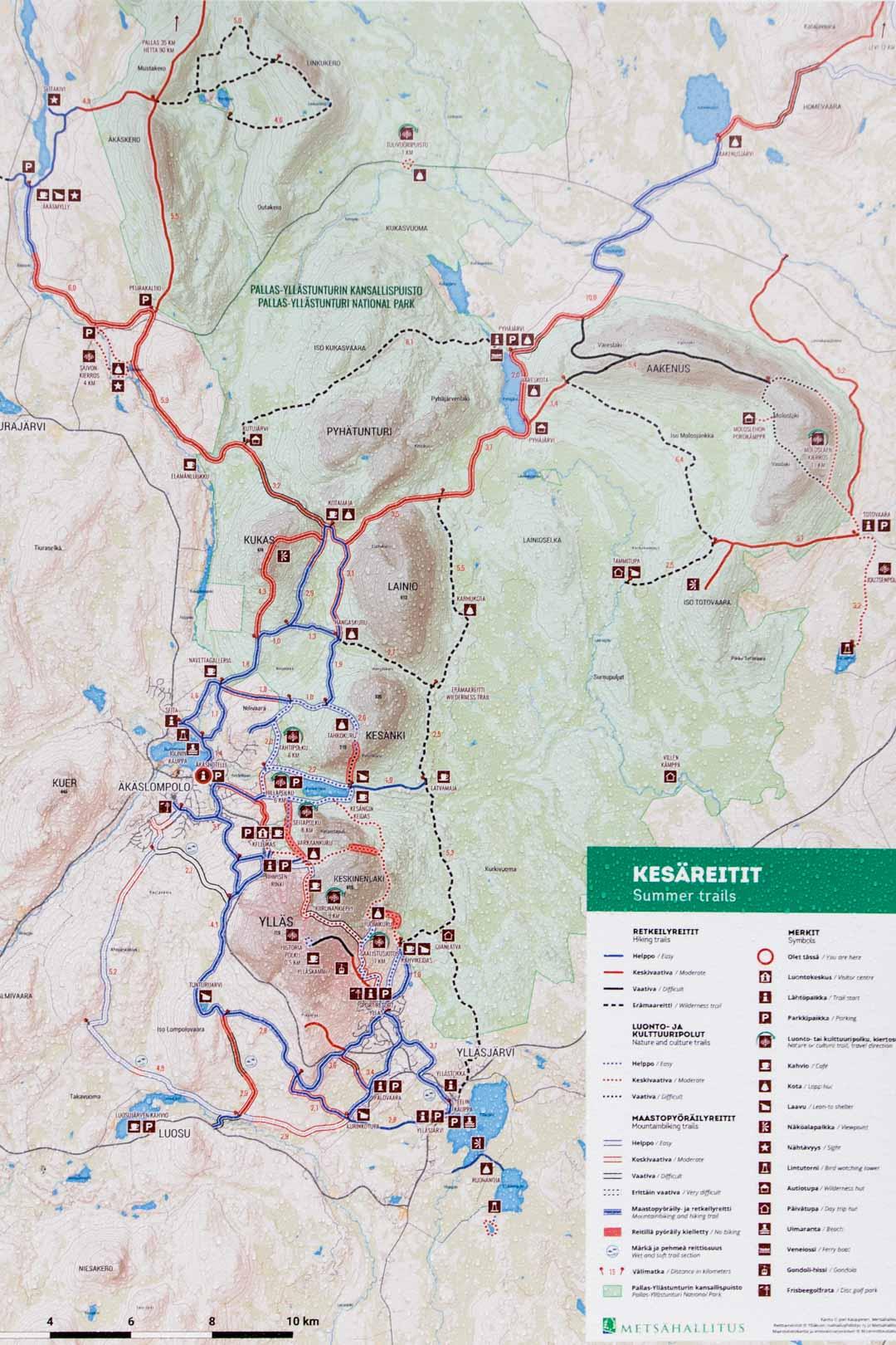 Pallas-Yllästunturin kansallispuiston kartta