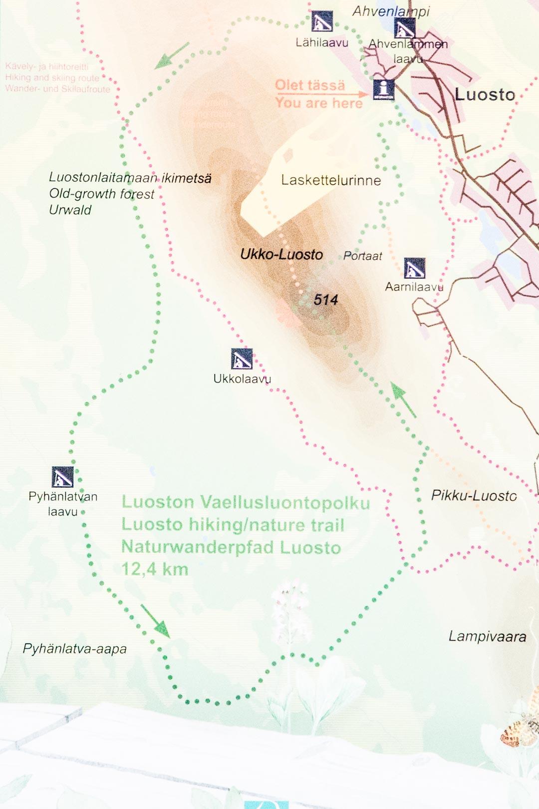 Luoston vaellusluontopolun kartta