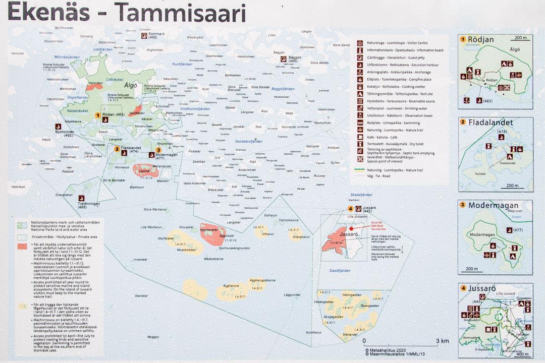 Tammisaaren kansallispuiston kartta