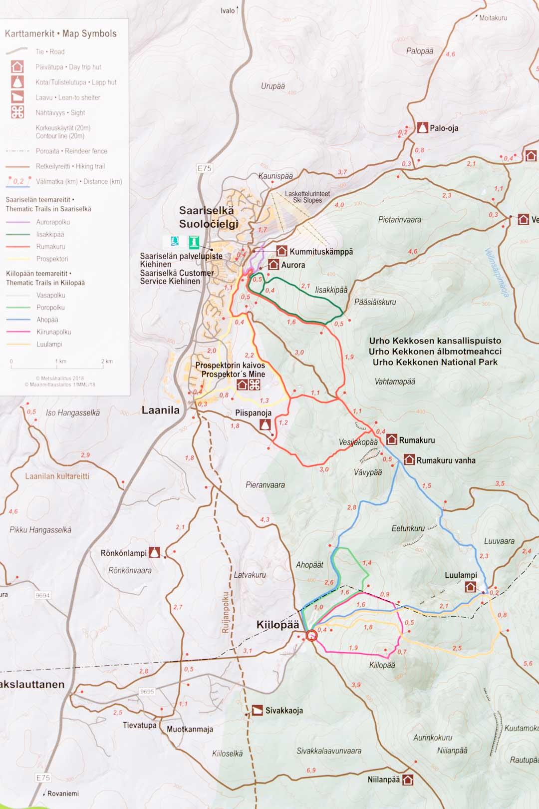 Urho Kekkosen kansallispuiston kartta