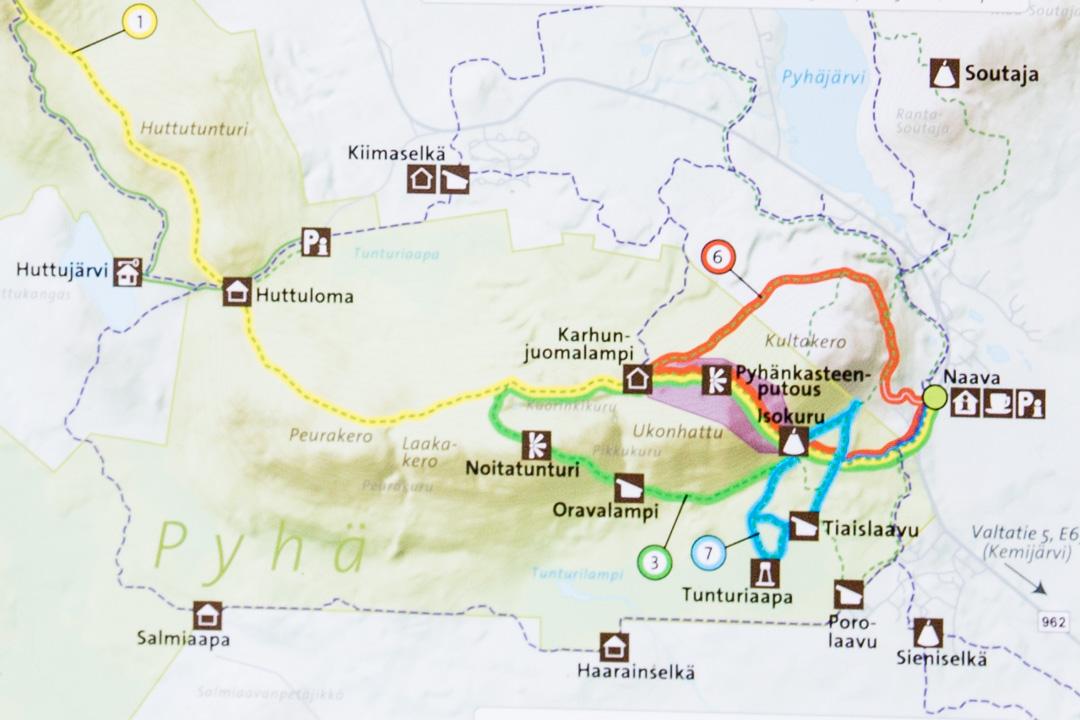 Pyhä-Luoston kansallispuiston kartta