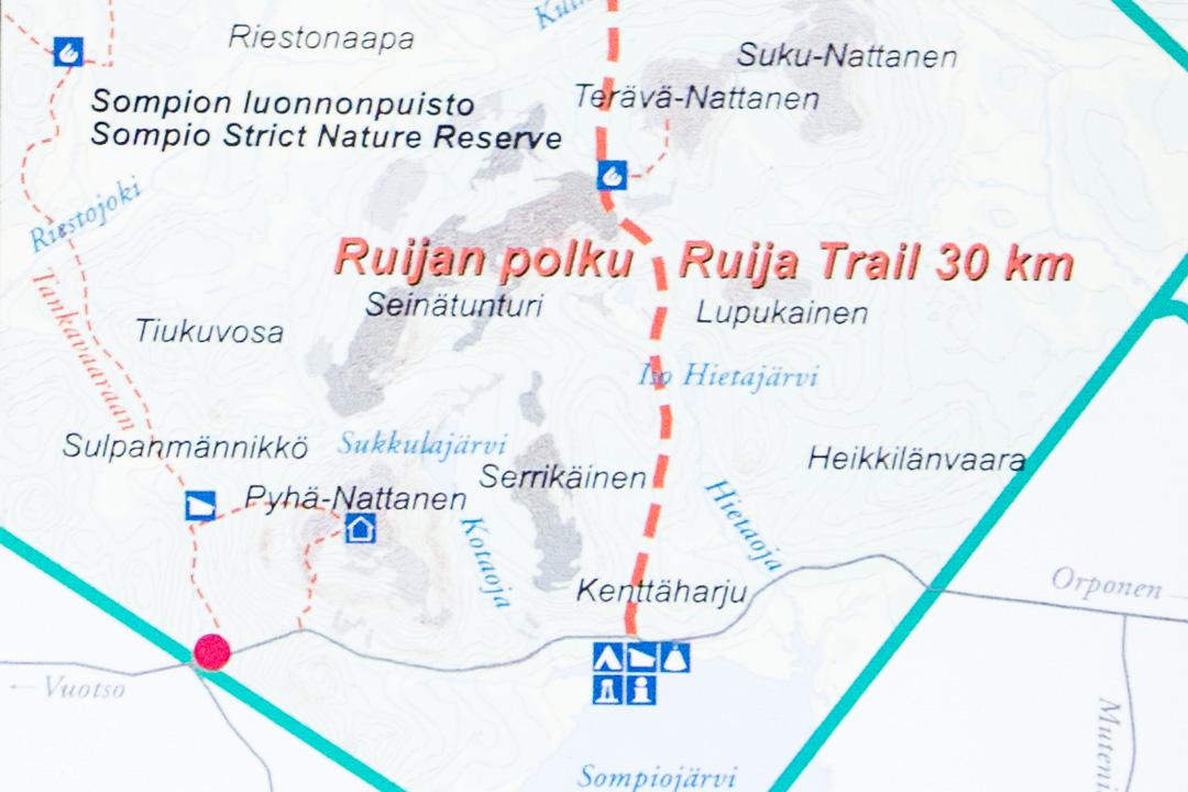 Sompion luonnonpuiston kartta